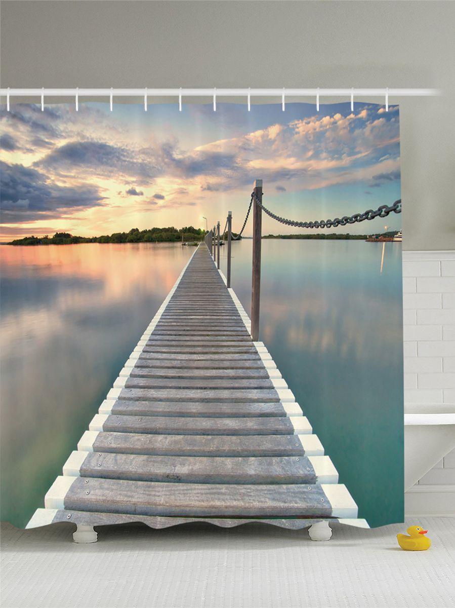 Штора для ванной комнаты Magic Lady Длинный мост на озере, 180 х 200 смшв_8244Штора Magic Lady Длинный мост на озере, изготовленная из высококачественного сатена (полиэстер 100%), отлично дополнит любой интерьер ванной комнаты. При изготовлении используются специальные гипоаллергенные чернила для прямой печати по ткани, безопасные для человека.В комплекте: 1 штора, 12 крючков. Обращаем ваше внимание, фактический цвет изделия может незначительно отличаться от представленного на фото.