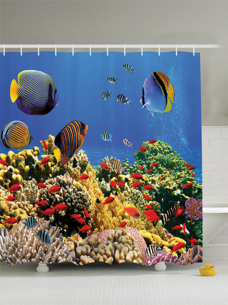 Штора для ванной комнаты Magic Lady На дне морском, 180 х 200 смшв_8328Штора Magic Lady На дне морском, изготовленная из высококачественного сатена (полиэстер 100%), отлично дополнит любой интерьер ванной комнаты. При изготовлении используются специальные гипоаллергенные чернила для прямой печати по ткани, безопасные для человека.В комплекте: 1 штора, 12 крючков. Обращаем ваше внимание, фактический цвет изделия может незначительно отличаться от представленного на фото.