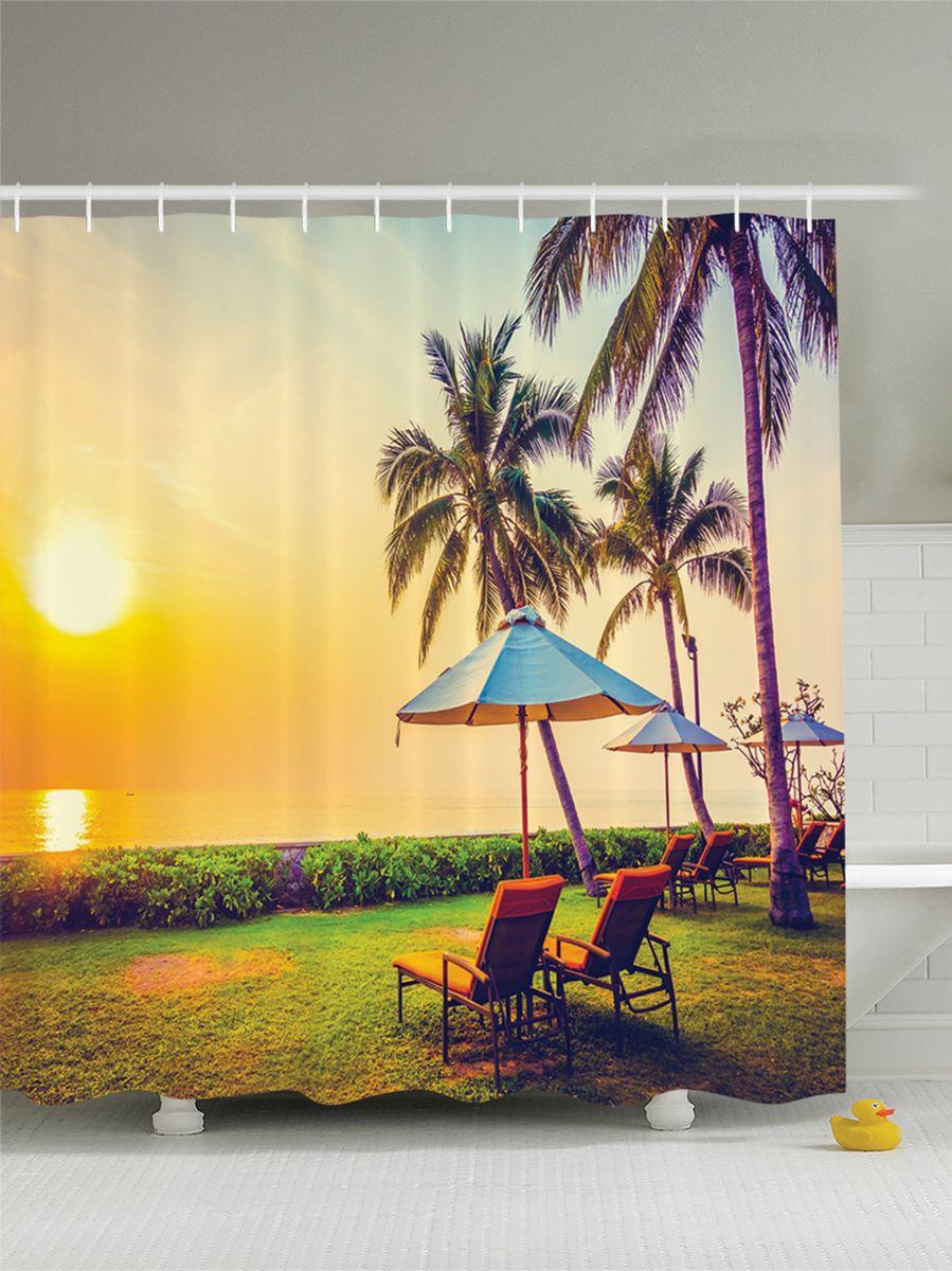 Штора для ванной комнаты Magic Lady Вечер под пальмами на лежаках с зонтиками, 180 х 200 смшв_7526Штора Magic Lady Вечер под пальмами на лежаках с зонтиками, изготовленная из высококачественного сатена (полиэстер 100%), отлично дополнит любой интерьер ванной комнаты. При изготовлении используются специальные гипоаллергенные чернила для прямой печати по ткани, безопасные для человека.В комплекте: 1 штора, 12 крючков. Обращаем ваше внимание, фактический цвет изделия может незначительно отличаться от представленного на фото.