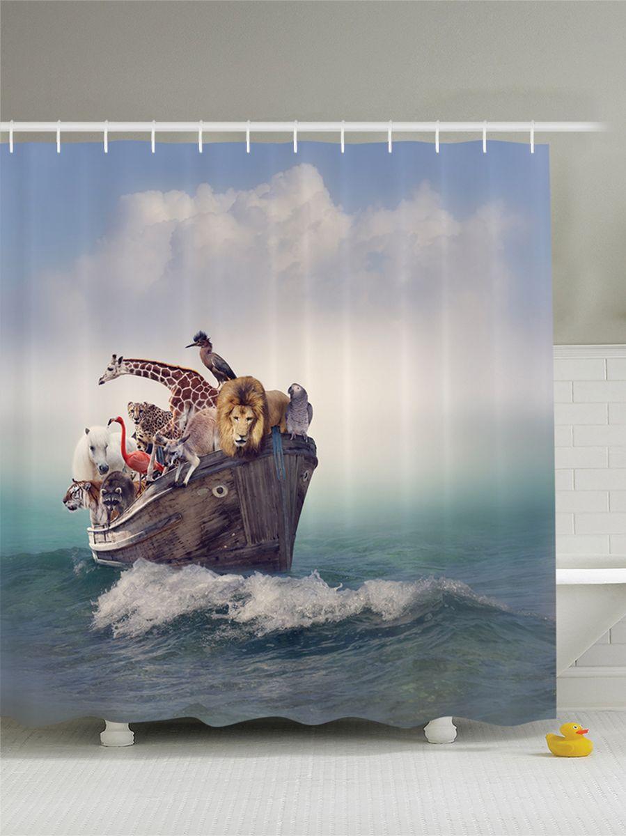 Штора для ванной комнаты Magic Lady Ковчег Ноя с животными, 180 х 200 см68/5/4Штора Magic Lady Ковчег Ноя с животными, изготовленная из высококачественного сатена (полиэстер 100%), отлично дополнит любой интерьер ванной комнаты. При изготовлении используются специальные гипоаллергенные чернила для прямой печати по ткани, безопасные для человека.В комплекте: 1 штора, 12 крючков. Обращаем ваше внимание, фактический цвет изделия может незначительно отличаться от представленного на фото.