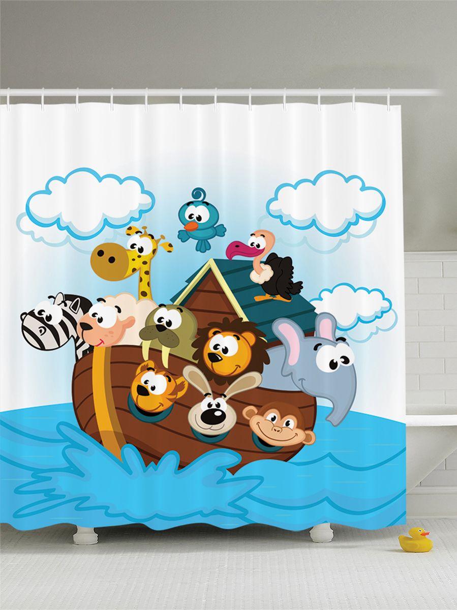 Штора для ванной комнаты Magic Lady Ноев ковчег. Мультяшные звери в лодке, 180 х 200 см фотоштора для ванной утка принимает душ magic lady 180 х 200 см