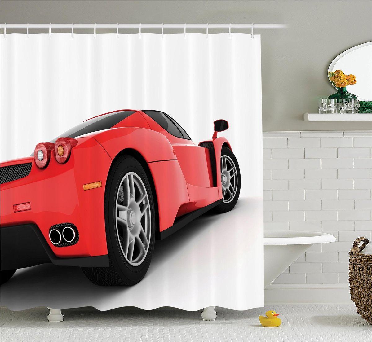 """Штора для ванной комнаты Magic Lady """"Красная машина"""", 180 х 200 см"""