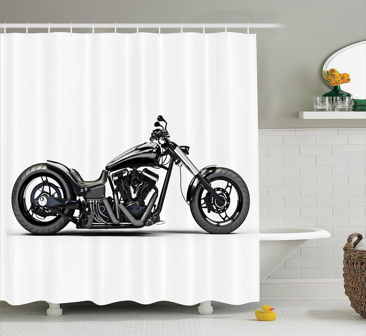 Штора для ванной комнаты Magic Lady Черный мотоцикл, 180 х 200 см391602Штора Magic Lady Черный мотоцикл, изготовленная из высококачественного сатена (полиэстер 100%), отлично дополнит любой интерьер ванной комнаты. При изготовлении используются специальные гипоаллергенные чернила для прямой печати по ткани, безопасные для человека.В комплекте: 1 штора, 12 крючков. Обращаем ваше внимание, фактический цвет изделия может незначительно отличаться от представленного на фото.