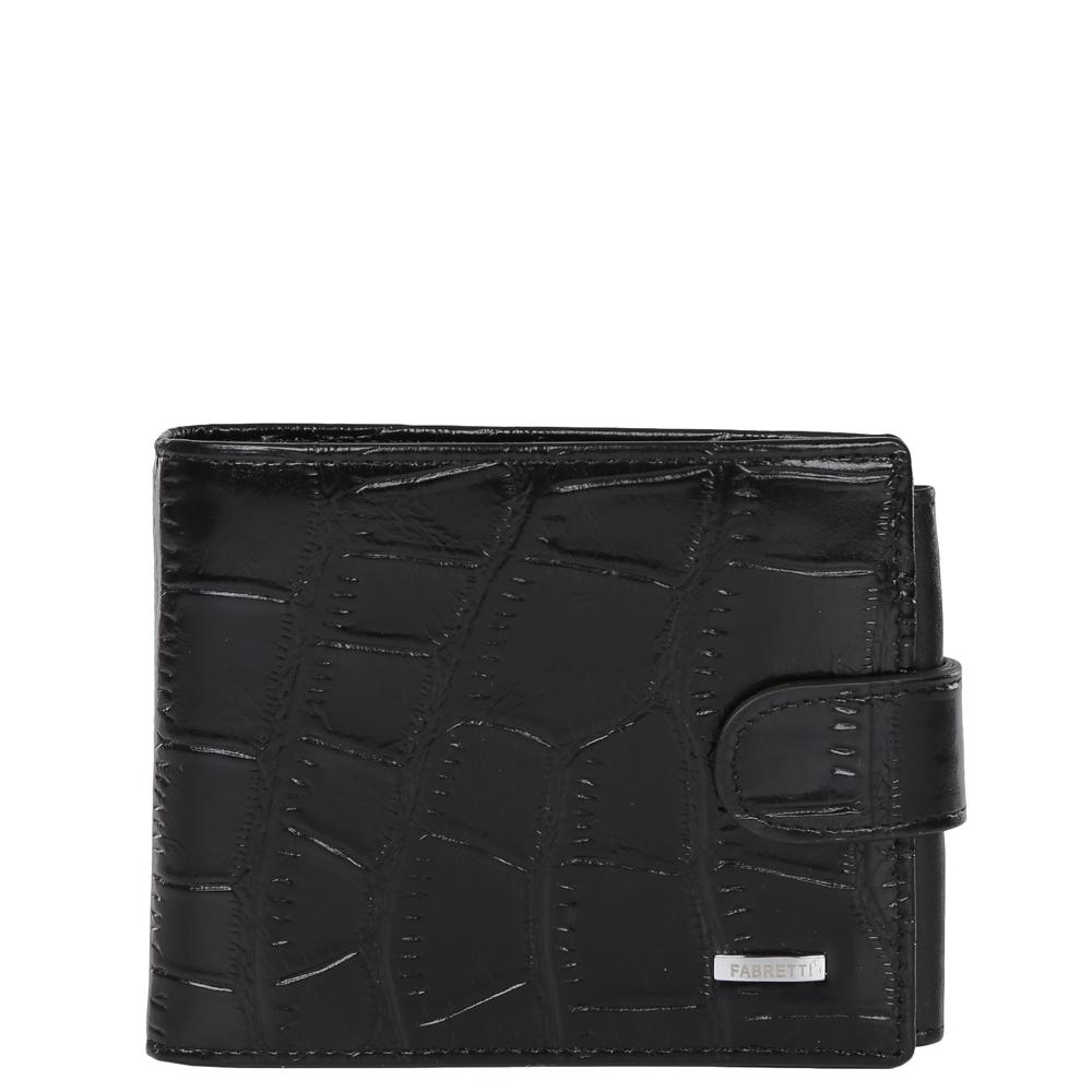 Кошелек мужской Fabretti, цвет: черный. 36003/1-black cocco104-5860Классический мужской кошелек от итальянского бренда Fabretti выполнен из натуральной кожи с тиснением под рептилию. Насыщенный черный цвет и фурнитура, выполненная в серебряном цвете, превратили аксессуар в модное изделие, которое подчеркнет ваше уникальное чувство стиля. Внутри модели имеется 3 отделения для купюр, одно из которых закрывается на молнию. Вы с легкостью сможете расположить 5 дисконтных и кредитных карточек, три фотографии, а также всю мелочь с помощью удобного кармана. Кошелек закрывается на прочную застежку.
