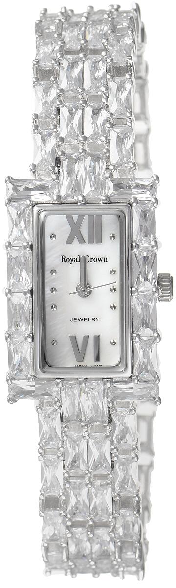Часы наручные женские Royal Crown, цвет: серебристый. 3793B-RDM-5BM8241-01EEИзысканные женские часы Royal Crown изготовлены из высокотехнологичной гипоаллергенной нержавеющей стали и латуни. Покрытие корпуса и браслета - палладий с розовым золотом и родием, что придает часам благородный блеск драгоценных металлов. Кварцевый механизм имеет степень влагозащиты равную 3 Bar и дополнен часовой, минутной и секундной стрелками. Браслет выполнен из соединяющихся между собой элементов, инкрустированных цирконами. Для того чтобы защитить циферблат от повреждений в часах используется высокопрочное минеральное стекло. Браслет комплектуется надежным и удобным в использовании складным замком, который позволит с легкостью снимать и надевать часы. Часы упакованы в фирменную коробку. Часы Royal Crown подчеркнут изящность женской руки и отменное чувство стиля у их обладательницы.