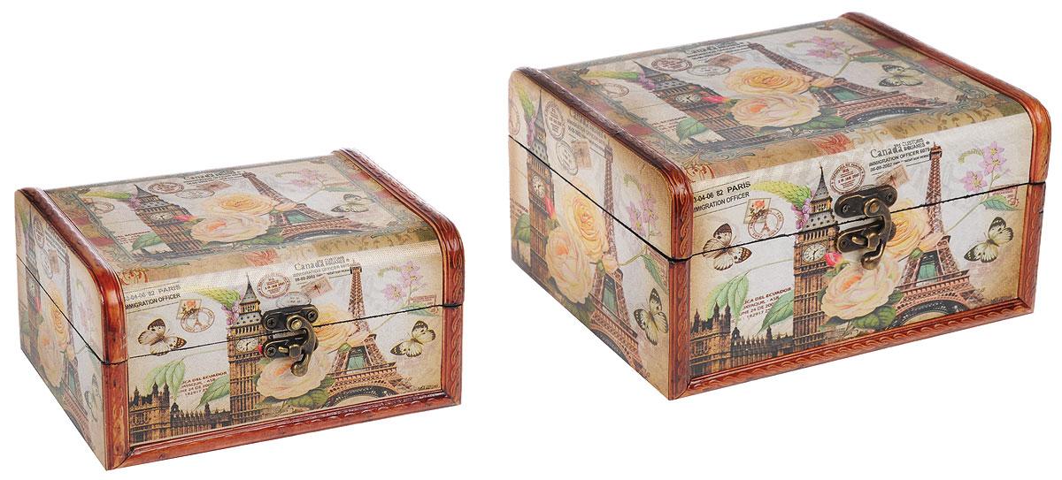 Набор шкатулок Roura Decoracion, 2 шт. 34755RG-D31SНабор Roura Decoracion состоит из двух шкатулок, изготовленных из МДФ и оформленных декоративной бумагой. Их оригинальное оформление, несомненно, привлечет внимание. Поверхность шкатулок декорирована изображением Эйфелевой башни и Биг-Беном, а также цветами и бабочками. Шкатулки закрываются на металлические замочки.Они могут использоваться для хранения бижутерии, в качестве украшения интерьера, а также послужит хорошим подарком для человека, ценящего практичные и оригинальные вещи.Размер большой шкатулки: 23 х 17 х 12 см.Размер малой шкатулки: 18 х 13 х 9 см.