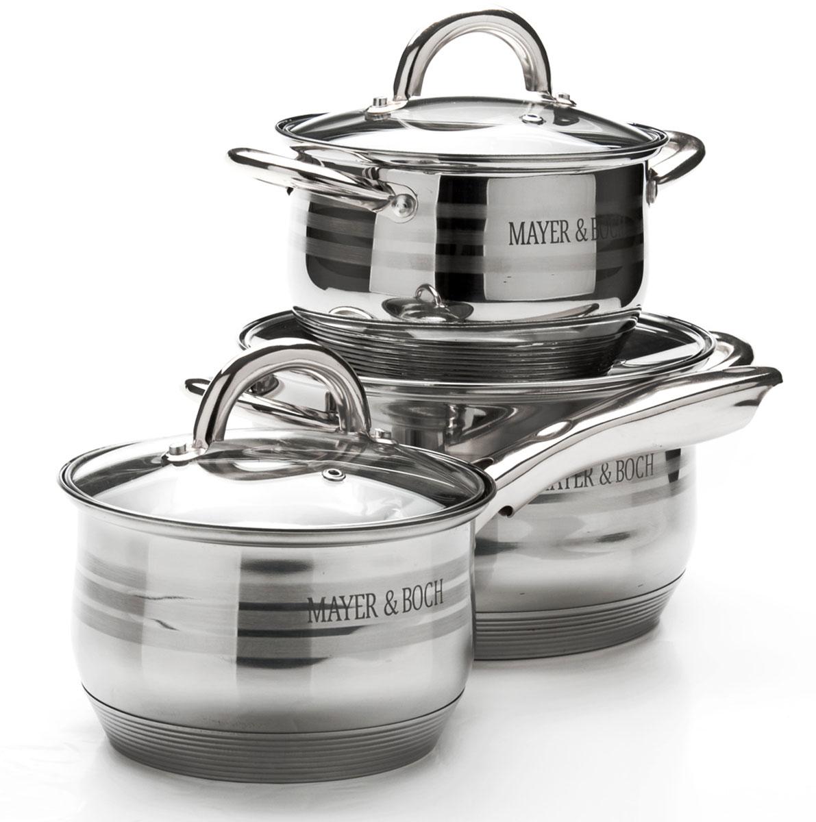 Набор посуды Mayer & Boch, 6 предметов. 2566725667Набор посуды станет отличным дополнением к набору кухонной утвари. С его приобретением приготовление ваших любимых блюд перейдет на качественно новый уровень и вы сможете воплотить в жизнь любые кулинарные идеи. В комплект входят 6 предметов: ковш (объем 2,1 л), 2 кастрюли (объем 2,1/ 3,9), 3 крышки. Набор многофункционален и удобен в использовании, подойдет для варки супов, приготовления блюд из мяса и рыбы, гарниров, соусов т. д.