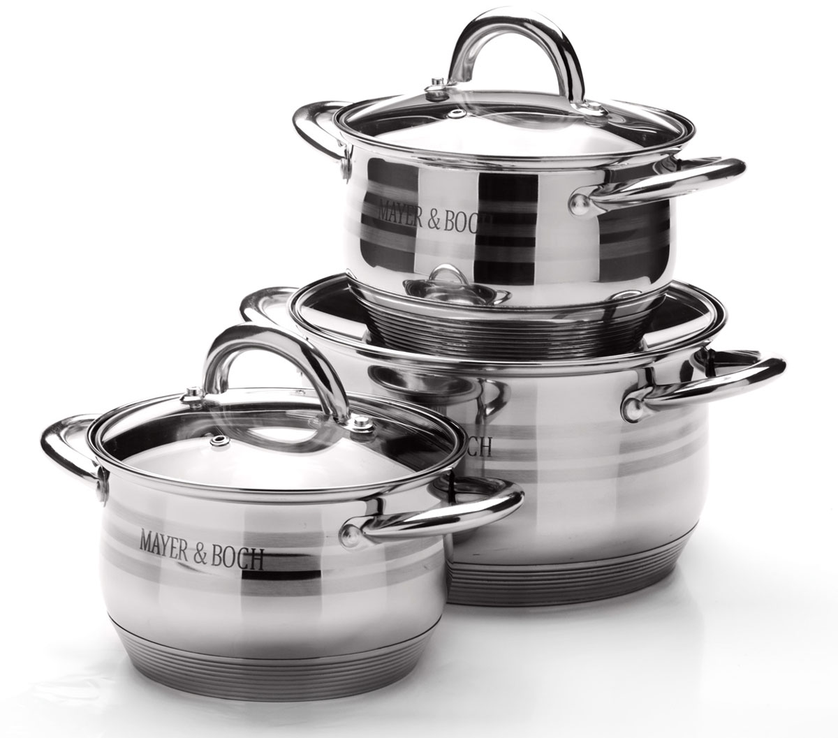 Набор посуды Mayer & Boch, 6 предметов. 2566825668Набор посуды станет отличным дополнением к набору кухонной утвари. С его приобретением приготовление ваших любимых блюд перейдет на качественно новый уровень и вы сможете воплотить в жизнь любые кулинарные идеи. В комплект входят 6 предметов: 3 кастрюли (объем 2,1/ 2,1/ 3,9), 3 крышки. Набор многофункционален и удобен в использовании, подойдет для варки супов, приготовления блюд из мяса и рыбы, гарниров, соусов т. д.