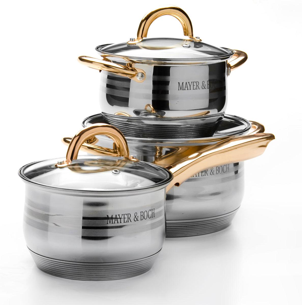 Набор посуды Mayer & Boch, 6 предметов. 2566968/5/4Набор кастрюль Mayer & Boch выполнен из высококачественной многослойной нержавеющей стали с комбинированной полировкой. Толщина стенок 4 мм.Этот набор посуды предназначен для здорового и экологичного приготовления пищи. Кастрюли имеют многослойное капсульное дно с алюминиевым основанием, которое быстро и равномерно накапливает тепло и также равномерно передает его пище. Внутренняя поверхность идеально ровная, что значительно облегчает мытье. Крышки, выполненные из термостойкого стекла, имеют отверстие паровыпуска и металлический обод. Крышки плотно прилегают к краям посуды, предотвращая проливание жидкости и сохраняя аромат блюд.Также изделия снабжены эргономичными ручками из стали. В комплекте 6 предметов: 2 кастрюли со стеклянными крышками, 1 ковш со стеклянной крышкой. Подходит для использования на всех типах плит, включая индукционные. Подходит для мытья в посудомоечной машине.Ковш: (2,1 л) D16 х 10,5 см. Кастрюля: (2,1 л) D16 х 10,5 см. Кастрюля: (3,9 л) D20 х 12,5 см.