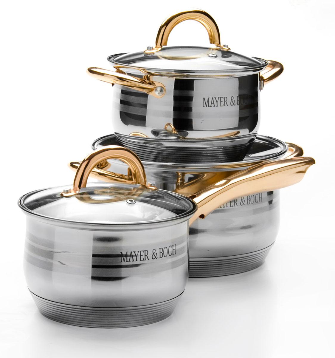Набор посуды Mayer & Boch, 6 предметов. 2567225672Набор посуды Mayer & Boch состоит из трех кастрюль с крышками. Изделия выполнены из высококачественной многослойной нержавеющей стали 18/10 с зеркальной и матовой полировкой. Этот набор посуды предназначен для здорового и экологичного приготовления пищи. Кастрюли имеют многослойное капсульное дно с алюминиевым основанием, которое быстро и равномерно накапливает тепло и также равномерно передает его пище. Внутренняя поверхность идеально ровная, что значительно облегчает мытье. Крышки, выполненные из термостойкого стекла, имеют отверстие для пара и металлический обод. Крышки плотно прилегают к краям посуды, предотвращая проливание жидкости и сохраняя аромат блюд. Также изделия снабжены эргономичными ручками из стали. Можно использовать на всех типах плит, включая индукционные. Можно мыть в посудомоечной машине. Объем кастрюль: 2,1 л, 2,1 л, 3,9 л.Диаметр кастрюль: 16 см, 16 см, 20 см.Высота стенок кастрюль: 10,5 см, 12,5 см, 12,5 см. Ширина кастрюль с учетом ручек: 25 см, 28 см.