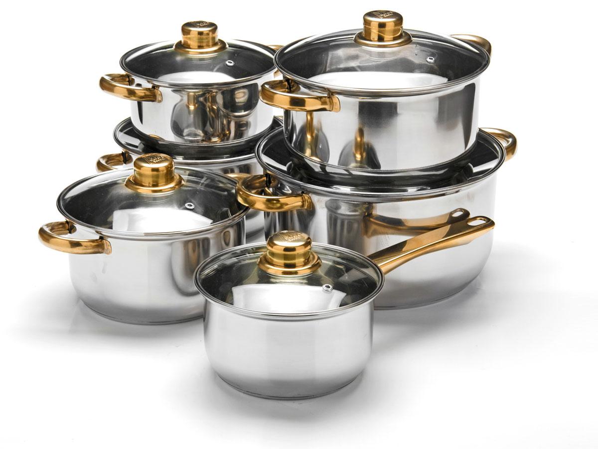 Набор посуды Mayer & Boch, 12 предметов. 2575225752Набор посуды станет отличным дополнением к набору кухонной утвари. С его приобретением приготовление ваших любимых блюд перейдет на качественно новый уровень и вы сможете воплотить в жизнь любые кулинарные идеи. В комплект входят 12 предметов: сотейник (объем 1,4 л), 3 кастрюли (объем 1,4, 2,9, 4,9 л) и 2 кастрюли ( объем 2 л), 6 крышек. Набор многофункционален и удобен в использовании, подойдет для варки супов, приготовления блюд из мяса и рыбы, гарниров, соусов т. д.