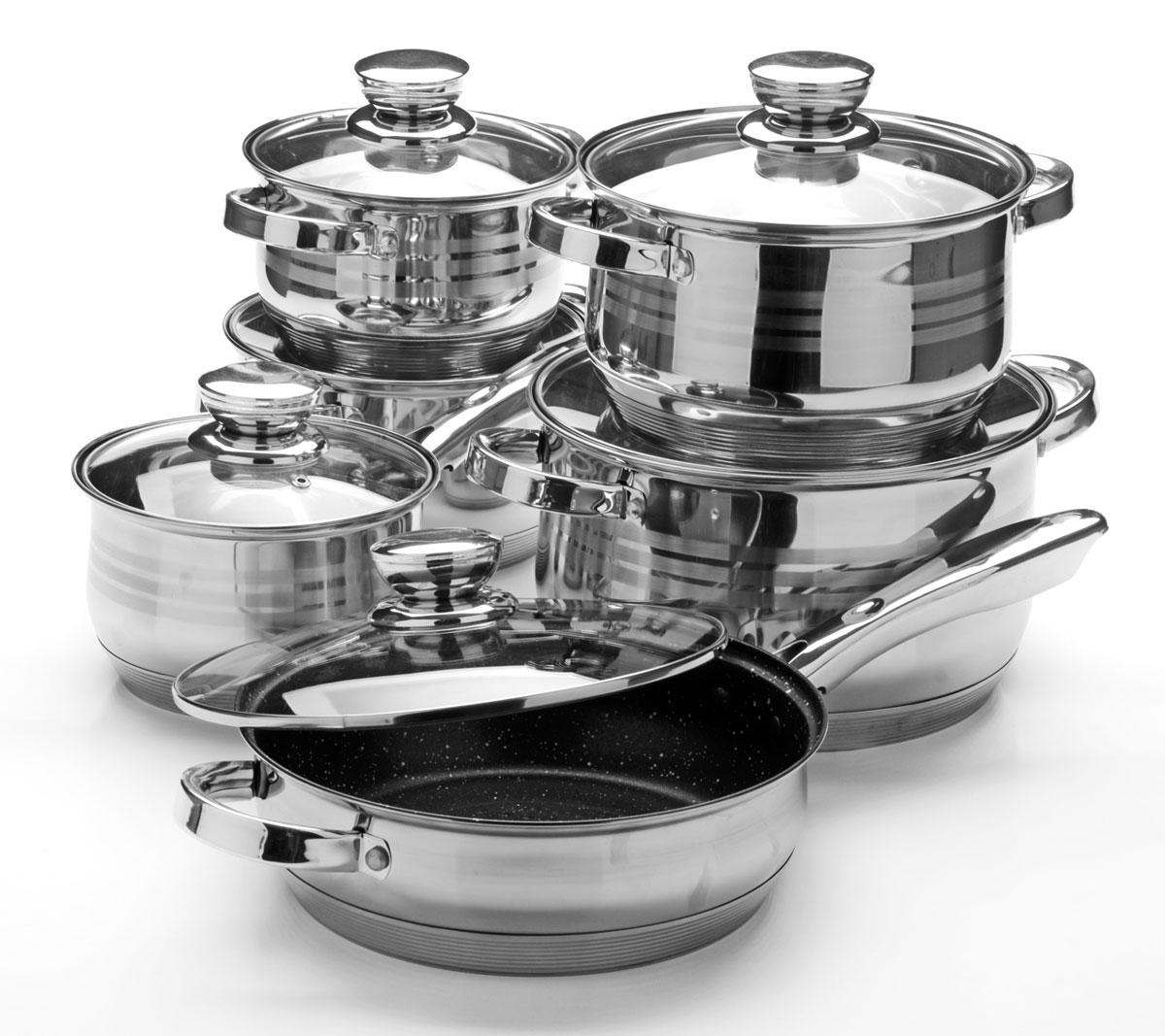 Набор посуды Mayer & Boch, 12 предметов. 2603326033Набор посуды станет отличным дополнением к набору кухонной утвари. С его приобретением приготовление ваших любимых блюд перейдет на качественно новый уровень и вы сможете воплотить в жизнь любые кулинарные идеи. В комплект входят 12 предметов: сотейник (объем 2,1 л), 4 кастрюли (объем 2,1, 2,9, 3,9, 6,6 л), сковорода (объем 3,4 л), 6 крышек. Покрытие сковороды - мраморная крошка.Набор многофункционален и удобен в использовании, подойдет для варки супов, приготовления блюд из мяса и рыбы, гарниров, соусов т. д.Можно мыть в посудомоечной машине.