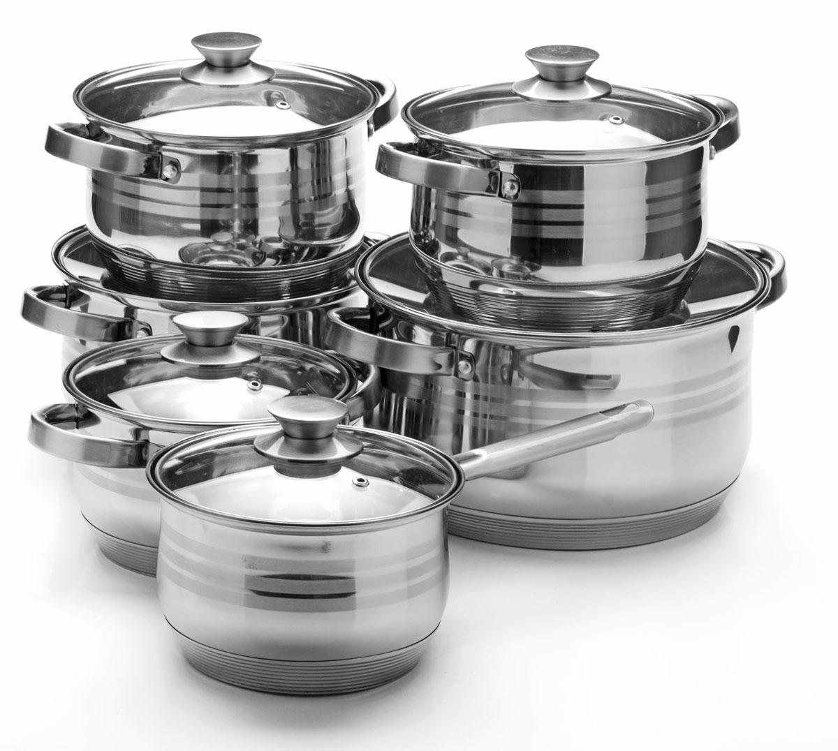 Набор посуды Mayer & Boch, 12 предметов. 2604425154Набор посуды Mayer & Boch состоит из 5 кастрюль с крышками и ковша с крышкой. Посуда выполнена из высококачественной нержавеющей стали с усиленным индукционным дном. Внешняя поверхность посуды с зеркальной полировкой декорирована матовыми полосками. Нержавеющая сталь - это экологически чистый, безопасный для здоровья материал, который не вступает в реакцию с продуктами и не искажает вкус приготовленных блюд. Изделия снабжены крышками из термостойкого стекла с отверстием для выхода пара и металлическим ободом, а также удобными стальными ручками, что придает посуде роскошный внешний вид. Многослойное дно обеспечит быстрый нагрев продуктов и надолго сохранит тепло. Посуда подходит для использования на газовых, электрических, стеклокерамических и галогеновых плитах, кроме индукционных. Подходит для мытья в посудомоечной машине.Диаметр кастрюль (по верхнему краю): 16 см; 18 см; 18 см; 24 см; 26 см.Высота стенки кастрюль: 10,5 см; 11,5 см; 11,5 см; 14,5 см; 15 см.Объем кастрюль: 2,1 л; 2,9 л; 2,9 л; 6,6 л; 8 л.Ширина кастрюль (с учетом ручек): 24 см; 26 см; 26 см; 34 см; 35,5 см. Диаметр дна кастрюль: 13,5 см; 15,5 см; 15,5 см; 21 см; 23,5 см. Объем ковша: 2,1 л. Диаметр ковша (по верхнему краю): 16 см. Высота стенки ковша: 10,5 см. Диаметр дна ковша: 13,5 см. Длина ручки ковша: 16 см.