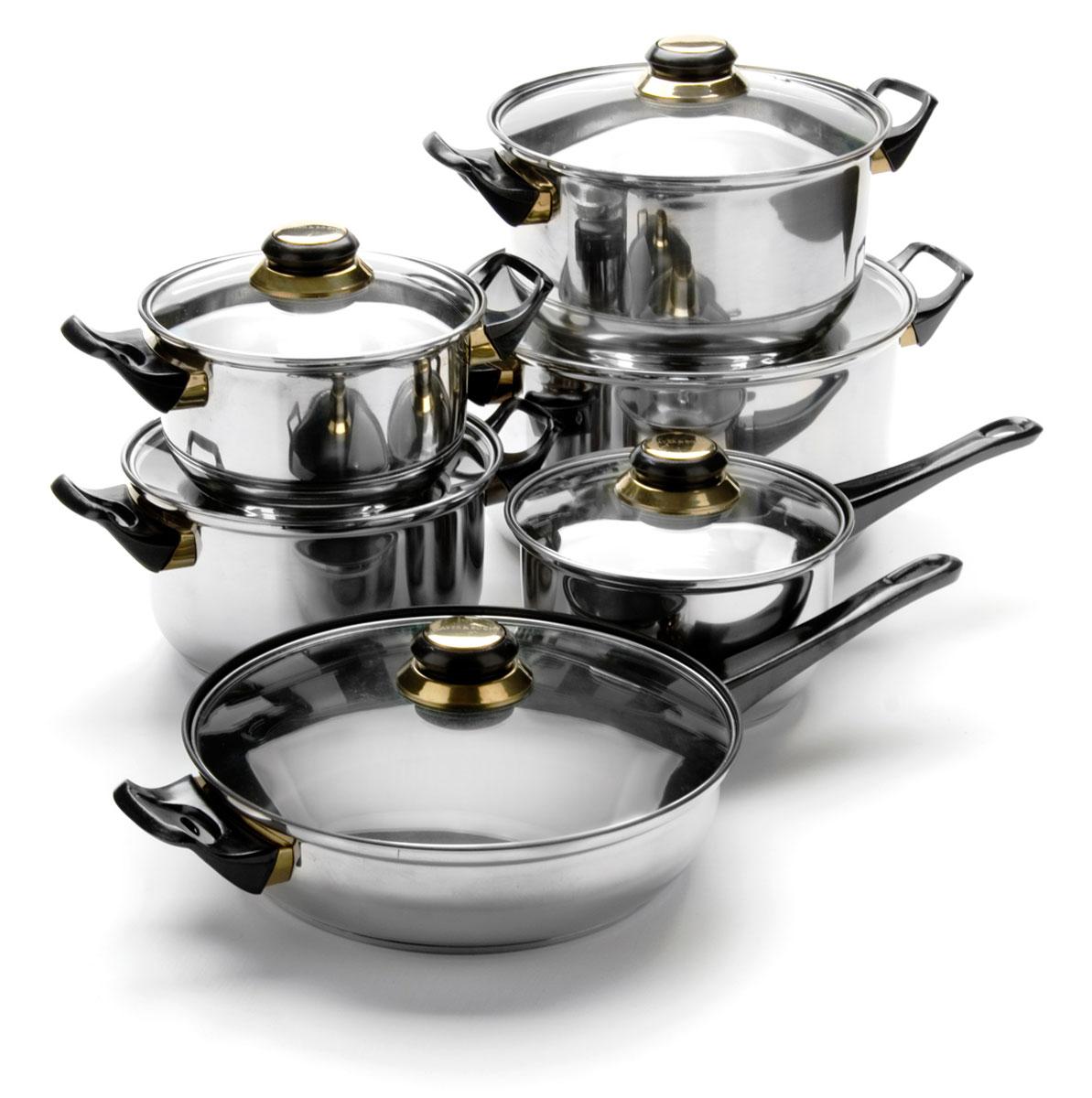 Набор посуды Mayer & Boch, 12 предметов. 6077115510Набор посуды станет отличным дополнением к набору кухонной утвари. С его приобретением приготовление ваших любимых блюд перейдет на качественно новый уровень и вы сможете воплотить в жизнь любые кулинарные идеи. В комплект входят 12 предметов: ковш (объем 1,9 л), сковорода (объем 4 л), 4 кастрюли (объем 1,9, 2,8, 3,6, 5,5 л), 6 крышек. Набор многофункционален и удобен в использовании, подойдет для варки супов, приготовления блюд из мяса и рыбы, гарниров, соусов т. д.