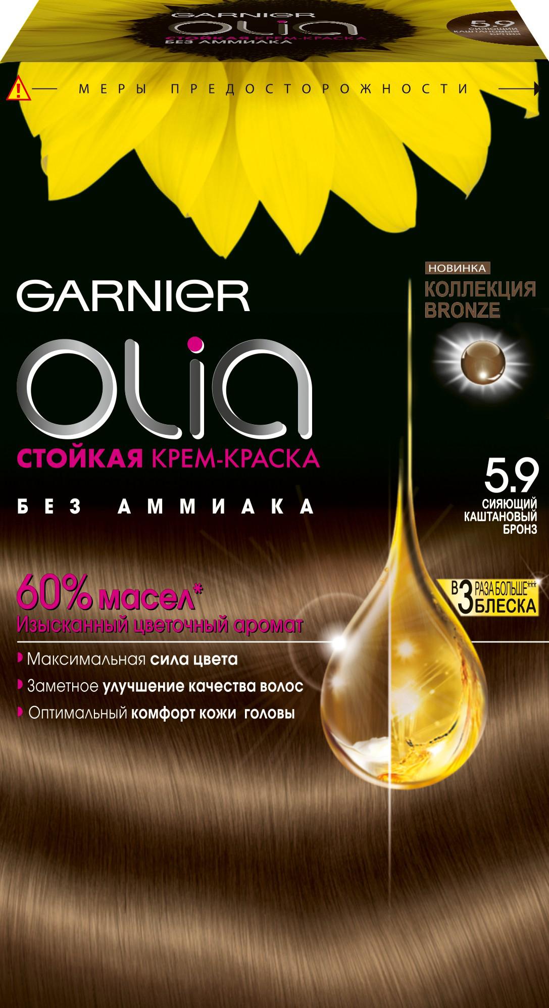 Garnier Стойкая крем-краска для волос Olia без аммиака, оттенок 5.9, Сияющий каштановый бронзE0897900Garnier Olia - первая стойкая крем-краска без аммиака c цветочным маслом. Olia обеспечивает максимальную силу цвета и заметно улучшает качество волос. Обеспечивает уникальное чувственное нанесение, оптимальный комфорт кожи головы и обладает изысканным цветочным ароматом. Узнай больше об окрашивании на http://coloracademy.ru//В состав упаковки входит: тюбик с молочком-проявителем; тюбик с крем-краской; флакон с бальзамом-уходом для волос Шелк и Блеск;инструкция; пара перчаток .