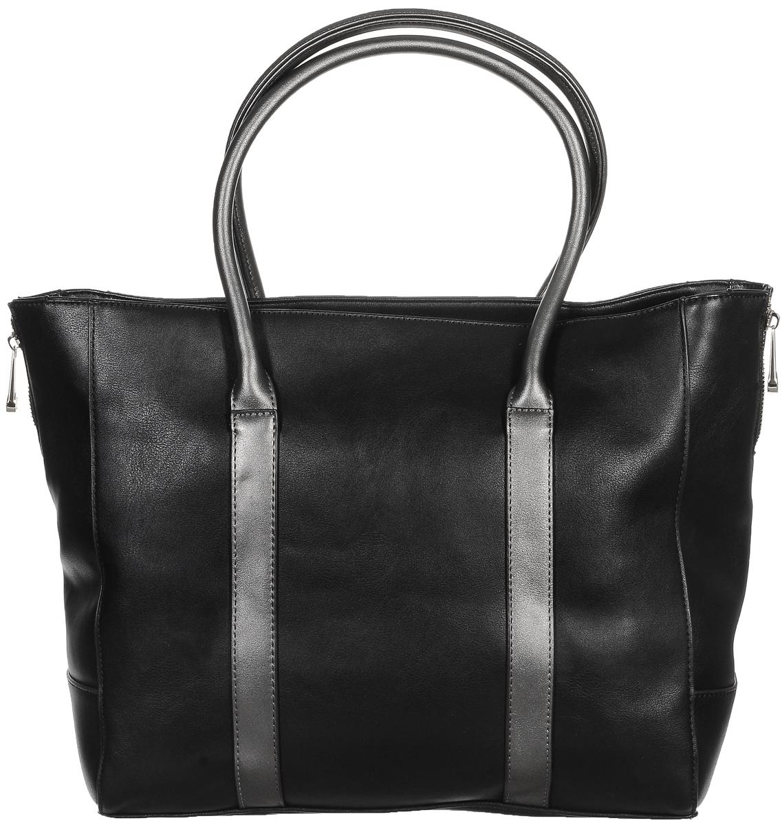 Сумка женская Renee Kler, цвет: черный, серый. RK121-018-2Изысканная женская сумка Renee Kler, изготовленная из искусственной кожи, оформлена декоративными молниями по бокам. Изделие имеет одно основное отделение и закрывается на удобную застежку-молнию. Внутри расположены два накладных открытых кармана, прорезной карман на застежке-молнии и накладной карман с отделением на застежке-молнии. Снаружи, на задней стенке находится прорезной карман на застежке-молнии. Сумка оснащена двумя удобными ручками.Роскошная сумка внесет элегантные нотки в ваш образ и подчеркнет ваше отменное чувство стиля.