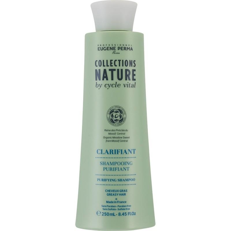 Eugene Perma Cycle Vital Nature Shampooing Purifiant - Шампунь для глубокого очищения волос 250 млFS-00897Очищает кожу головы и сохраняет свежесть на весь день. Регулирует работу сальных желез. Увлажняет волосы, придает им легкость и шелковистость.