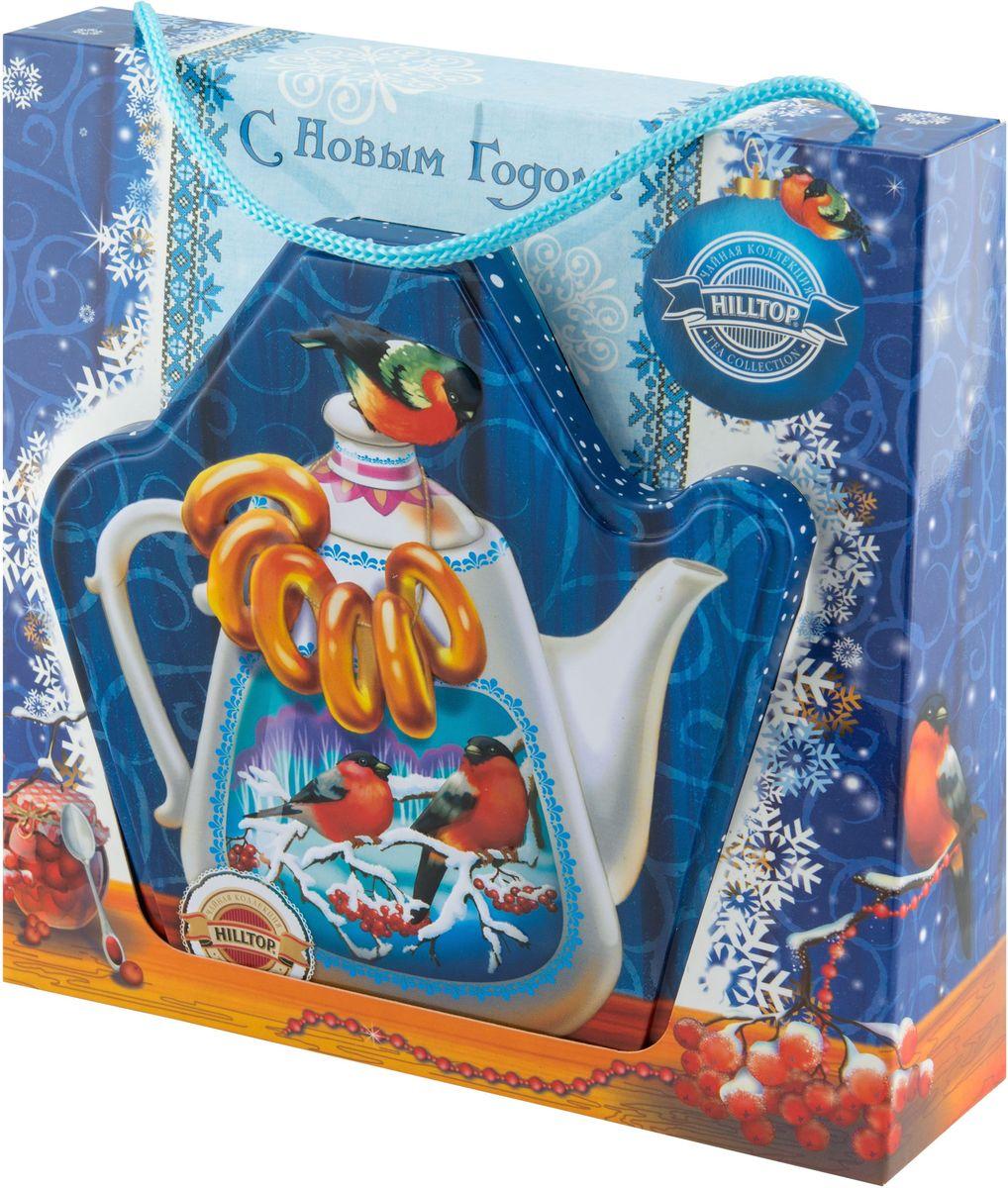 Hilltop Королевское золото. Чайник с баранками чай черный листовой, 80 г0120710Черный листовой чай Hilltop Королевское золото. Чайник с баранками станет замечательным подарком и прекрасно подойдет для яркого новогоднего чаепития. На оригинальной подарочной упаковке изображен красивый чайник с баранками, обрамленный морозным узором.