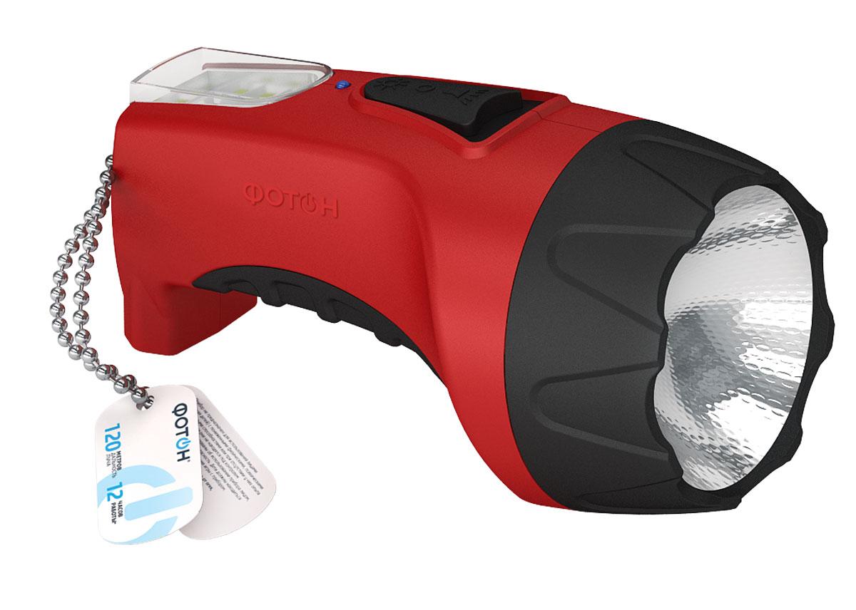 Фонарь светодиодный Фотон РМ-1500 Red (1W), аккумуляторныйAS009Материал корпуса – пластик Покрытие элементов фонаря – Soft-touch Источник света – светодиод 1Вт Панель рассеянного света – 8 SMD-диодов Время работы на одном заряде - д 12ч. Питание - аккумулятор свинцово-кислотный 4V*1A Выключатель - ползунковый, боковой