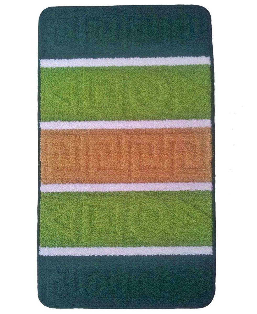 Коврик для ванной Kamalak Tekstil, цвет: зеленый, 60 x 100 см. УКВ-100674-0120Ковры-паласы выполнены из полипропилена. Ковры обладают хорошими показателями теплостойкости и шумоизоляции. Являются гиппоалергенными. За счет невысокого ворса ковры легко чистить. Вам придется по душе широкая гамма цветов и возможность гармонично оформить интерьер. Практичный и устойчивый к износу ворс - от постоянного хождения не истирается, не накапливает статическое электричество. Структура волокна в полипропиленовых моделях гладкая, поэтому грязь не может выесться, на ворсе она скапливается с трудом. Полипропилен не впитывает влагу, отталкивает водянистые пятна. Уход: Самый простой способ избавить изделие от грязи – пропылесосить его с обеих сторон (лицевой и изнаночной).Влажная уборка с применением шампуней и моющих средств не противопоказана. Если шерсти и шёлку универсальные чистящие составы не подходят, то для синтетики они придутся в самый раз.Хранить их нужно рулоном, не складывая «салфеткой».При надлежащем уходе синтетический ковёр прослужит долго, не утратив ни яркости узора, ни блеска ворса, ни его упругости.