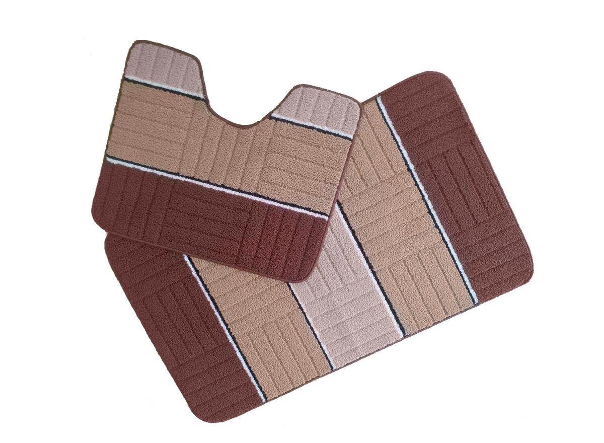 Набор ковриков для ванной комнаты Kamalak Tekstil, цвет: коричневый, 2 шт. УКВ-1018RG-D31SКовры-паласы выполнены из полипропилена. Ковры обладают хорошими показателями теплостойкости и шумоизоляции. Являются гиппоалергенными. За счет невысокого ворса ковры легко чистить. Вам придется по душе широкая гамма цветов и возможность гармонично оформить интерьер. Практичный и устойчивый к износу ворс - от постоянного хождения не истирается, не накапливает статическое электричество. Структура волокна в полипропиленовых моделях гладкая, поэтому грязь не может выесться, на ворсе она скапливается с трудом. Полипропилен не впитывает влагу, отталкивает водянистые пятна. Уход: Самый простой способ избавить изделие от грязи – пропылесосить его с обеих сторон (лицевой и изнаночной).Влажная уборка с применением шампуней и моющих средств не противопоказана. Если шерсти и шёлку универсальные чистящие составы не подходят, то для синтетики они придутся в самый раз.Хранить их нужно рулоном, не складывая «салфеткой».При надлежащем уходе синтетический ковёр прослужит долго, не утратив ни яркости узора, ни блеска ворса, ни его упругости.