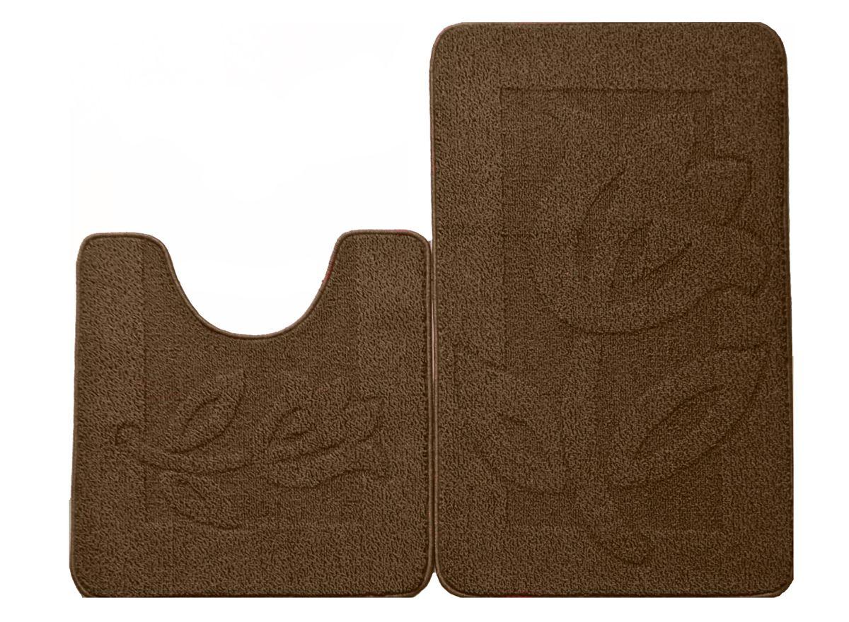 Набор ковриков для ванной комнаты Kamalak Tekstil, цвет: коричневый, 2 шт. УКВ-102741619Ковры-паласы выполнены из полипропилена. Ковры обладают хорошими показателями теплостойкости и шумоизоляции. Являются гиппоалергенными. За счет невысокого ворса ковры легко чистить. Вам придется по душе широкая гамма цветов и возможность гармонично оформить интерьер. Практичный и устойчивый к износу ворс - от постоянного хождения не истирается, не накапливает статическое электричество. Структура волокна в полипропиленовых моделях гладкая, поэтому грязь не может выесться, на ворсе она скапливается с трудом. Полипропилен не впитывает влагу, отталкивает водянистые пятна. Уход: Самый простой способ избавить изделие от грязи – пропылесосить его с обеих сторон (лицевой и изнаночной).Влажная уборка с применением шампуней и моющих средств не противопоказана. Если шерсти и шёлку универсальные чистящие составы не подходят, то для синтетики они придутся в самый раз.Хранить их нужно рулоном, не складывая «салфеткой».При надлежащем уходе синтетический ковёр прослужит долго, не утратив ни яркости узора, ни блеска ворса, ни его упругости.
