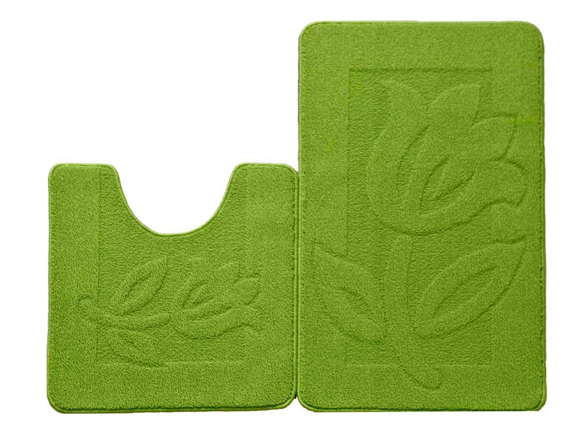 Набор ковриков для ванной комнаты Kamalak Tekstil, цвет: зеленый, 2 шт. УКВ-1028531-105Ковры-паласы выполнены из полипропилена. Ковры обладают хорошими показателями теплостойкости и шумоизоляции. Являются гиппоалергенными. За счет невысокого ворса ковры легко чистить. Вам придется по душе широкая гамма цветов и возможность гармонично оформить интерьер. Практичный и устойчивый к износу ворс - от постоянного хождения не истирается, не накапливает статическое электричество. Структура волокна в полипропиленовых моделях гладкая, поэтому грязь не может выесться, на ворсе она скапливается с трудом. Полипропилен не впитывает влагу, отталкивает водянистые пятна. Уход: Самый простой способ избавить изделие от грязи – пропылесосить его с обеих сторон (лицевой и изнаночной).Влажная уборка с применением шампуней и моющих средств не противопоказана. Если шерсти и шёлку универсальные чистящие составы не подходят, то для синтетики они придутся в самый раз.Хранить их нужно рулоном, не складывая «салфеткой».При надлежащем уходе синтетический ковёр прослужит долго, не утратив ни яркости узора, ни блеска ворса, ни его упругости.