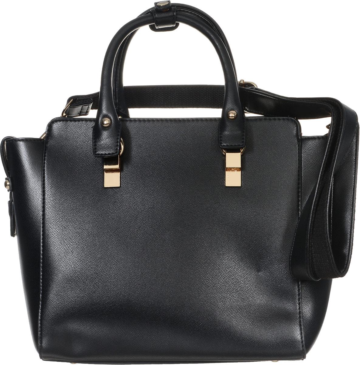 Сумка женская Baggini, цвет: черный. 29825-1/10S76245Стильная женская сумка Baggini выполнена из искусственной кожи. Изделие имеет одно отделение, которое закрывается на застежку-молнию. Внутри сумки находятся два накладных открытых кармана, прорезной карман на застежке-молнии и накладной карман с отделением на застежке-молнии. Снаружи, на задней стенке находится прорезной карман на застежке-молнии. Сумка оснащена двумя удобными ручками, которые фиксируются между собой с помощью хлястика на кнопке. В комплект входит съемный регулируемый плечевой ремень. Основание изделия защищено от повреждений металлическими ножками. Модная сумка идеально подчеркнет ваш неповторимый стиль.