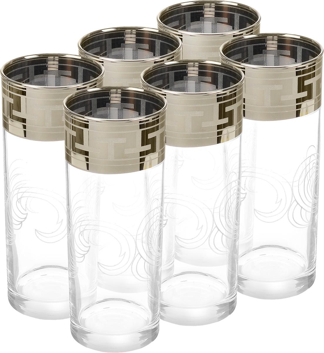 Набор стаканов Гусь-Хрустальный Греческий узор, 350 мл, 6 штVT-1520(SR)Набор Гусь-Хрустальный Греческий узор состоит из 6 высоких стаканов, изготовленных из высококачественного натрий-кальций-силикатного стекла. Изделия оформлены красивым зеркальным покрытием и прозрачным орнаментом. Стаканы предназначены для подачи коктейлей, а также воды и сока. Такой набор прекрасно дополнит праздничный стол и станет желанным подарком в любом доме. Разрешается мыть в посудомоечной машине. Диаметр стакана (по верхнему краю): 6,2 см. Высота стакана: 15,5 см.