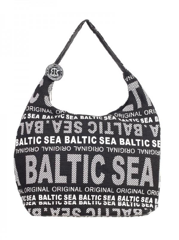 Сумка женская Robin Ruth Baltic Sea, цвет: черный, белый. BG2648-B71069с-2Женская сумка Robin Ruth Baltic Sea выполнена из канваса и оформлена контрастным принтом с надписями. Изделие содержит одно основное отделение, закрывающееся на застежку-молнию. Внутри расположены вшитый карман на молнии и накладной кармашек для телефона. Сумка оснащена практичной лямкой, которая дополнена брелоком на цепочке. Стильная сумка позволит вам подчеркнуть свою индивидуальность, а также сделает ваш образ завершенным.