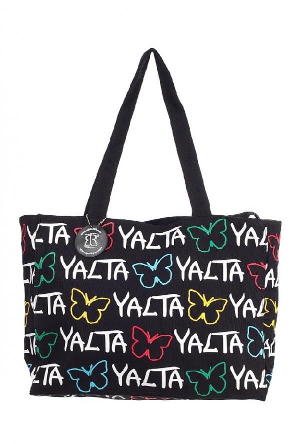 Сумка женская Robin Ruth Yalta, цвет: черный, белый. BYA005-AS76245Оригинальная женская сумка Robin Ruth Yalta выполнена из текстиля. Сумка состоит из одного основного отделения, которое закрывается на застежку-молнию. Сумка оснащена ручками для удобной переноски. Модель оформлена принтом с яркими надписями.