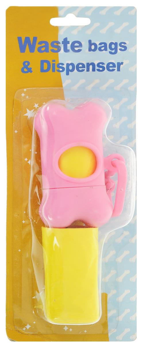 Гигиенические пакеты Каскад, с футляром, сменные, цвет: розовый, желтыйП-1008Гигиенические пакеты Каскад в футляре отлично подойдут для использования во время прогулок с собакой. Футляр, изготовленный из пластика в форме косточки, крепится к ручке поводка. Пакеты легко отрываются и позволяют убрать за собакой в любом месте. В комплекте предусмотрены сменные пакеты. Размер футляра: 5 х 8,5 х 4 см.