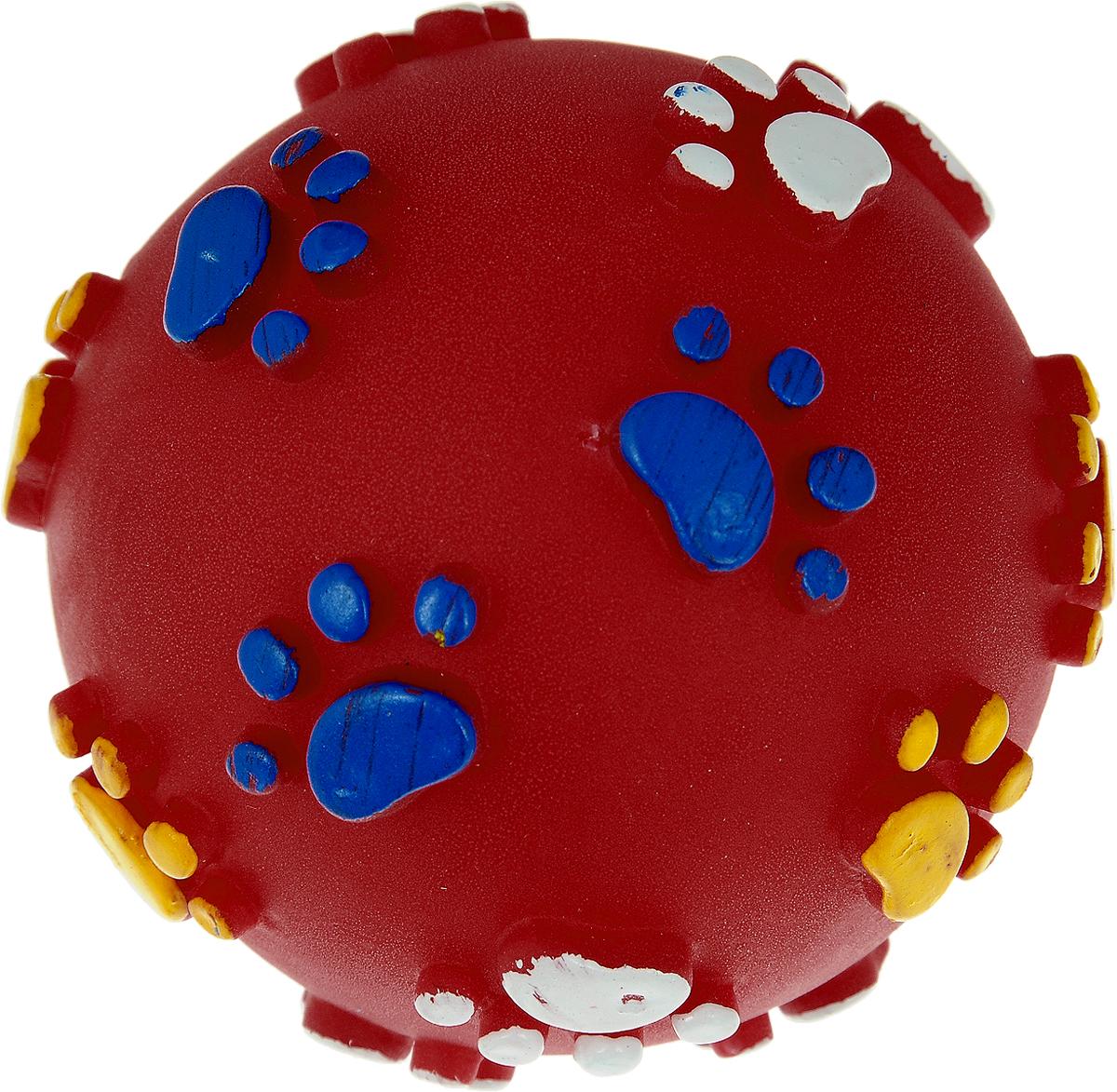 Игрушка для собак Каскад Мяч. Лапки, цвет: красный, диаметр 6 см игрушка для животных каскад мяч мина резиновый цвет красный 10 см
