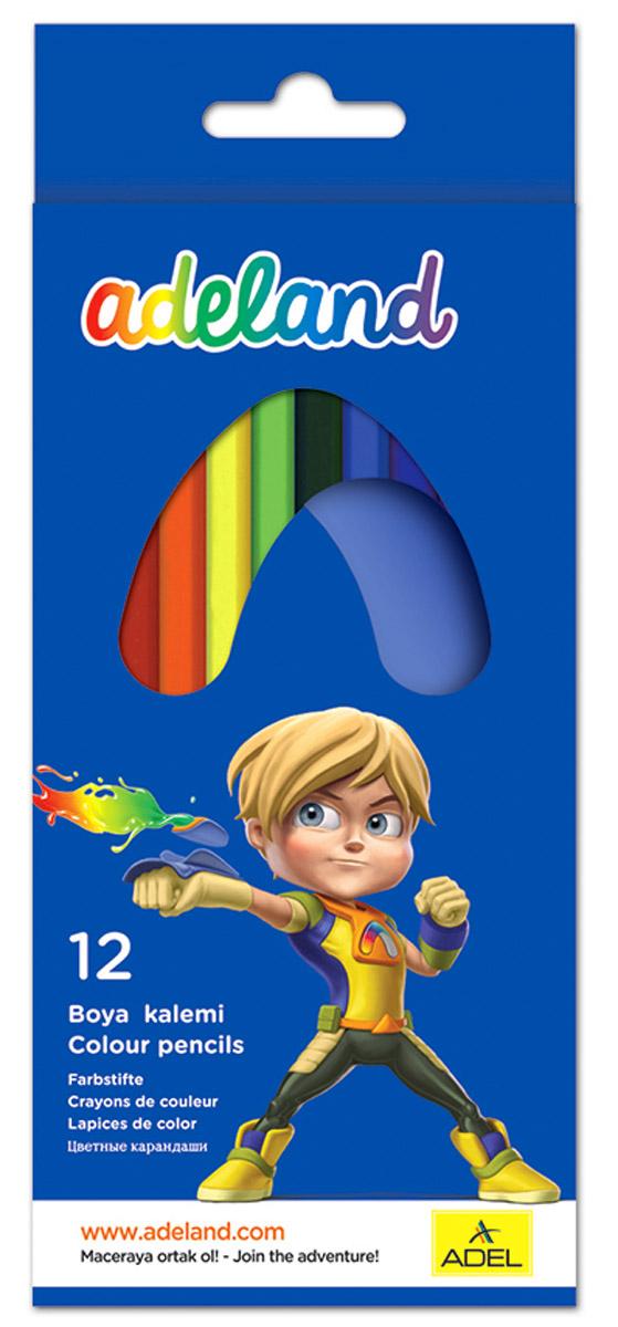 Adel Набор цветных карандашей Adeland 12 шт 211-2315-100119011Цветные карандаши Adel Adeland созданы специально для маленькой детской руки. Специальная технология проклейки карандаша предотвращает повреждение грифеля при падении. Набор состоит из 12 карандашей ярких цветов.Они упакованы в картонную коробку с изображением героя Hiro из турецкого мультфильма Renk Koruyuculari.Не рекомендуется детям до 3-х лет.