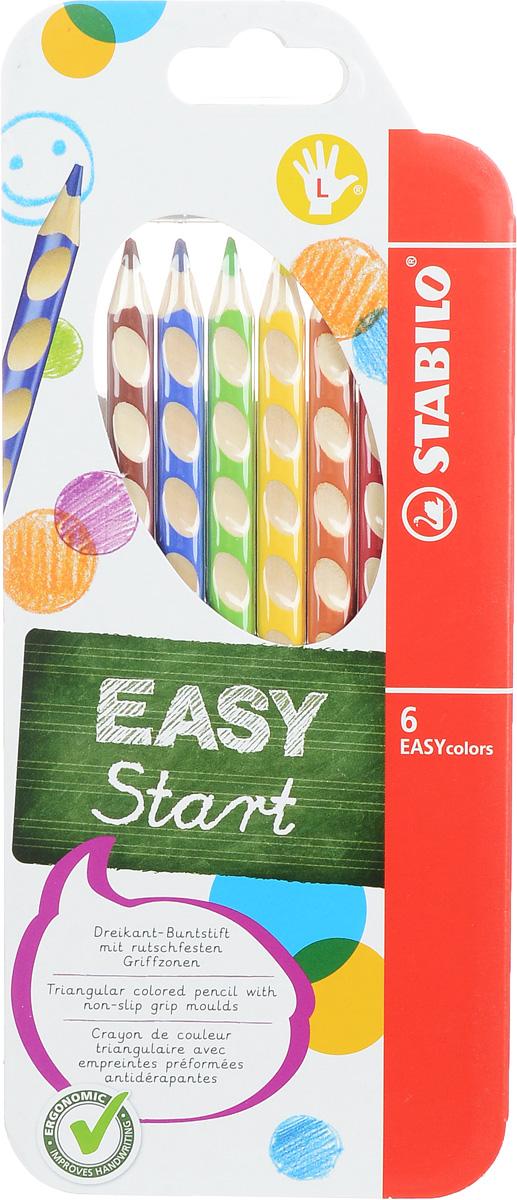 Stabilo Набор цветных карандашей Easycolors для левшей 6 штC13S041944Преимущества карандашей Stabilo Easycolors. Специальные углубления на корпусе карандаша подсказывают ребенку как располагать большой и указательный пальцы, прививая первоначальный навык правильно держать пишущий инструмент. Расположение углублений по всей длине корпуса обеспечивает правильное удержание карандаша ребенком при письме и рисовании даже после заточки карандаша. С течением времени навык автоматически закрепляется в памяти ребенка, позволяя ему быстрее и легче адаптироваться к процессу обучения письму, освоить правильную технику письма и сделать письмо красивым и быстрым.Создают максимальный комфорт для ребенка - трехгранная форма карандаша соответствует естественному захвату руки, уменьшая мышечные усилия, необходимые для его удержания, - ребенок может рисовать длительное время без ощущения усталости. Утолщенная форма корпуса облегчает удержание карандашей детьми с недостаточно развитой мелкой моторикой руки. Карандаши разработаны с учетом особенностей строения руки ребенка и имеют две версии: для правшей и для левшей, обеспечивая им одинаково комфортное письмо. Рекомендуются в начале обучения рисованию и письму.Мягкий грифель легко рисует на бумаге, не царапая ее и не крошась, и оставляет яркий след без каких-либо усилий. Утолщенный грифель диаметром 4,5 мм не нуждается в постоянном затачивании, так как имеет повышенную стойкость к поломкам. Каждый карандаш можно подписать. Карандаши являются обладателями Европейского сертификата качества (маркировка на корпусе СЕ), что подтверждает их высочайшее качество и безопасность для здоровья.