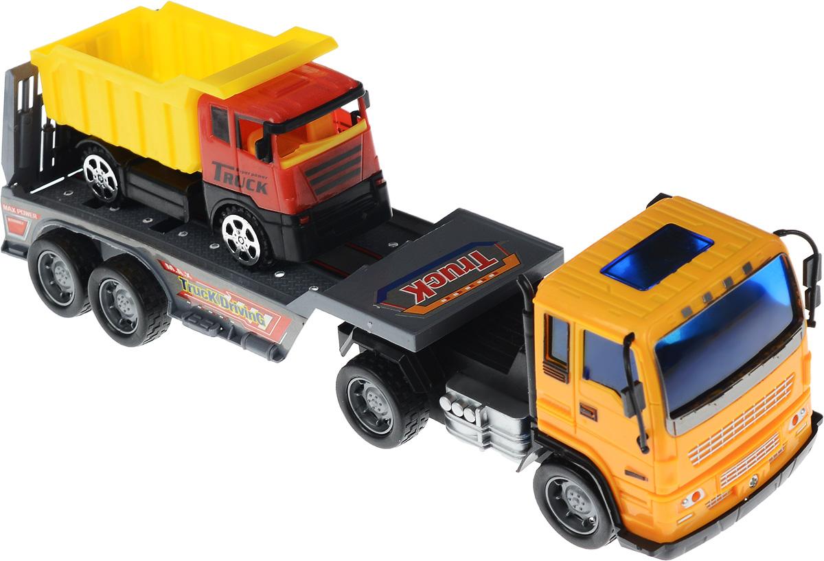 Junfa Toys Автовоз инерционный с самосвалом цвет оранжевый