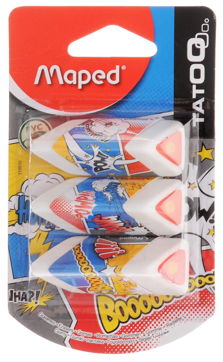 Maped Ластик Boom 3 шт72523WDСтильный дизайнерский ластик Maped Boom изготовлен из экологически чистого материала, не содержащего ПВХ.Набор состоит из трех ластиков трехгранной формы, соответствующей естественному захвату руки. Трехцветный ластик помещен в бумажный держатель с изображением комиксов.Ластик легко и без следов удаляет с бумаги надписи, сделанные карандашом любой твердости.