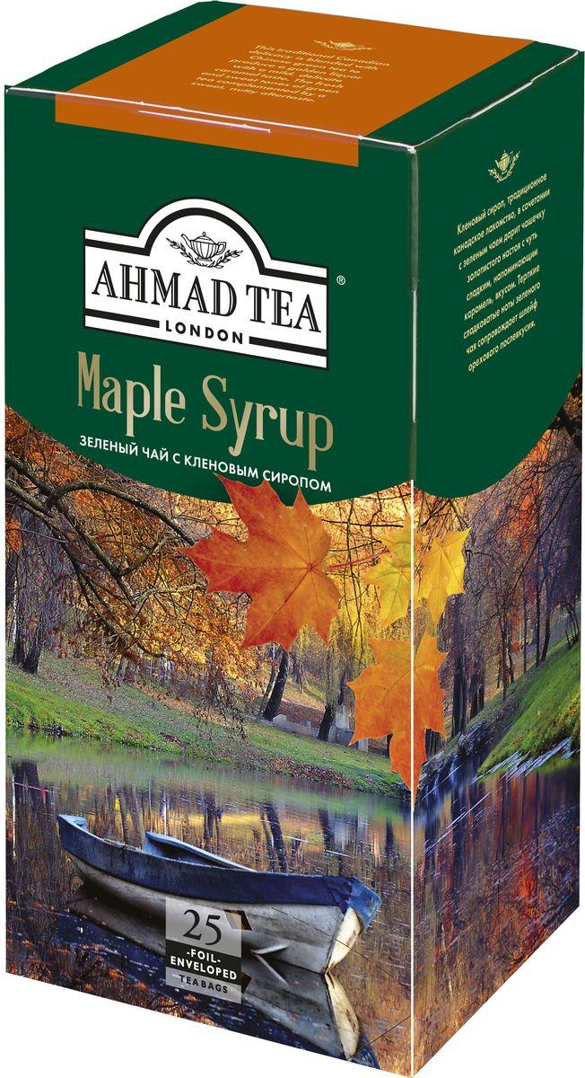 Ahmad Tea Maple Syrup зеленый чай в пакетиках, 25 шт0120710Кленовый сироп, традиционное канадское лакомство, в сочетании с зеленым чаем дарит чашечку золотистого настоя с чуть сладким, напоминающим карамель, вкусом. Терпкие сладковатые ноты зеленого чая сопровождает шлейф орехового послевкусия.