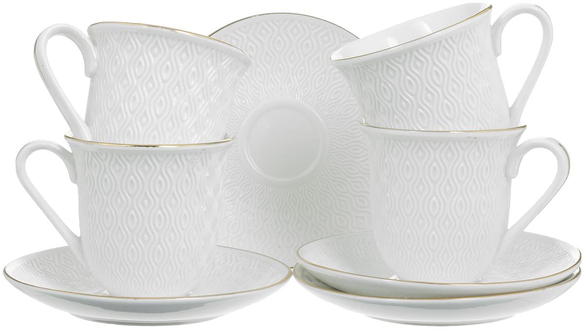 Набор чайный Loraine, 8 предметов. 25776VT-1520(SR)Чайный набор Loraine состоит из 4 чашек и 4 блюдец, выполненных из высококачественного костяного фарфора. Изделия прекрасно дополнят сервировку стола к чаепитию. Благодаря изысканному дизайну и качеству исполнения такой набор станет замечательным подарком для ваших друзей и близких. Набор упакован в подарочную коробку, задрапированную белой атласной тканью. Объем чашки: 240 мл. Диаметр чашки по верхнему краю: 8,2 см. Высота чашки: 8 см. Диаметр блюдца: 14,2 см.Высота блюдца: 2 см.