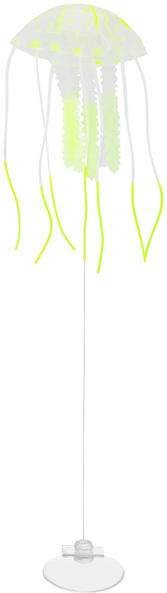 Декорация для аквариума Barbus Медуза, малая, силиконовая, цвет: светло-зеленый, 5 х 5 х 15 см0120710Декорация Barbus Медуза, выполненная из высококачественного силикона, станет оригинальным украшением для вашего аквариума. Изделие отличается реалистичным исполнением, в воде создается имитация настоящей медузы. Декорация абсолютно безопасна, нейтральна к водному балансу, устойчива к истиранию краски, не токсична, подходит как для пресноводного, так и для морского аквариума. Крепится при помощи присоски. Такая декорация наиболее подвижна в постоянном потоке воды. Для красивого светящегося эффекта рекомендуется использование актинического освещения. Декорация Barbus Медуза станет оригинальным украшением для внесения загадочности в интерьер вашего аквариума.