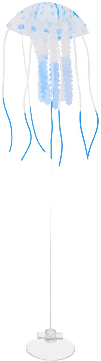 Декорация для аквариума Barbus Медуза, малая, силиконовая, цвет: синий, 5 х 5 х 15 см0120710Декорация Barbus Медуза, выполненная из высококачественного силикона, станет оригинальным украшением для вашего аквариума. Изделие отличается реалистичным исполнением, в воде создается имитация настоящей медузы. Декорация абсолютно безопасна, нейтральна к водному балансу, устойчива к истиранию краски, не токсична, подходит как для пресноводного, так и для морского аквариума. Крепится при помощи присоски. Такая декорация наиболее подвижна в постоянном потоке воды. Для красивого светящегося эффекта рекомендуется использование актинического освещения. Декорация Barbus Медуза станет оригинальным украшением для внесения загадочности в интерьер вашего аквариума.