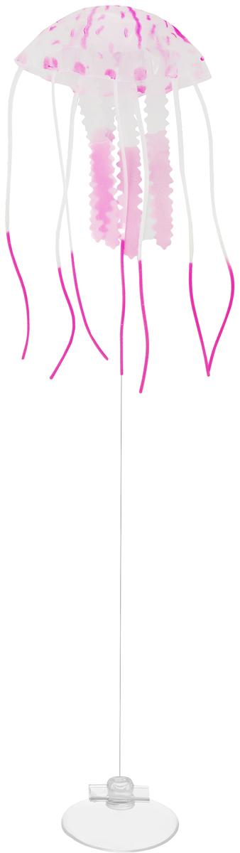 Декорация для аквариума Barbus Медуза, малая, силиконовая, цвет: розовый, 5 х 5 х 15 смDecor 075Декорация Barbus Медуза, выполненная из высококачественного силикона, станет оригинальным украшением для вашего аквариума. Изделие отличается реалистичным исполнением, в воде создается имитация настоящей медузы. Декорация абсолютно безопасна, нейтральна к водному балансу, устойчива к истиранию краски, не токсична, подходит как для пресноводного, так и для морского аквариума. Крепится при помощи присоски. Такая декорация наиболее подвижна в постоянном потоке воды. Для красивого светящегося эффекта рекомендуется использование актинического освещения. Декорация Barbus Медуза станет оригинальным украшением для внесения загадочности в интерьер вашего аквариума.