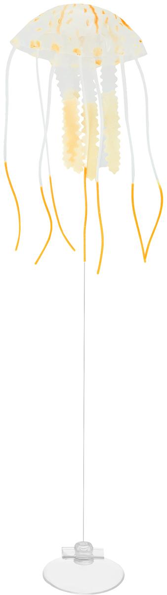 Декорация для аквариума Barbus Медуза, малая, силиконовая, цвет: оранжевый, 5 х 5 х 15 см0120710Декорация Barbus Медуза, выполненная из высококачественного силикона, станет оригинальным украшением для вашего аквариума. Изделие отличается реалистичным исполнением, в воде создается имитация настоящей медузы. Декорация абсолютно безопасна, нейтральна к водному балансу, устойчива к истиранию краски, не токсична, подходит как для пресноводного, так и для морского аквариума. Крепится при помощи присоски. Такая декорация наиболее подвижна в постоянном потоке воды. Для красивого светящегося эффекта рекомендуется использование актинического освещения. Декорация Barbus Медуза станет оригинальным украшением для внесения загадочности в интерьер вашего аквариума.