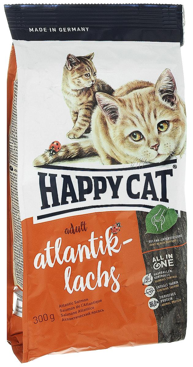 Корм сухой Happy Cat Adult Atlantik-Lachs для кошек с чувствительным пищеварением, с атлантическим лососем, 300 г0120710Сухой корм Happy Cat Adult Atlantik-Lachs - инновационная программа комплексного питания кошек на всех стадиях развития. Особенности: - предотвращение образования шерстяных комочков,- таурин и большое количество белка животного происхождения, - контроль за уровнем рН для здоровья мочевыводящих путей, - укрепление зубов, - омега-3 и омега-6 жирные кислоты для здоровой кожи и шерсти, - гарантия превосходного вкуса и уникальная форма Happy Cat Natural Life Concept. Корм Happy Cat Adult Atlantik-Lachs содержит легкоусваиваемое мясо лосося и вкусное мясо птицы. Оригинальное мясо новозеландского моллюска и семя льна поддерживают здоровье опорно-двигательной и иммунной систем.Товар сертифицирован.