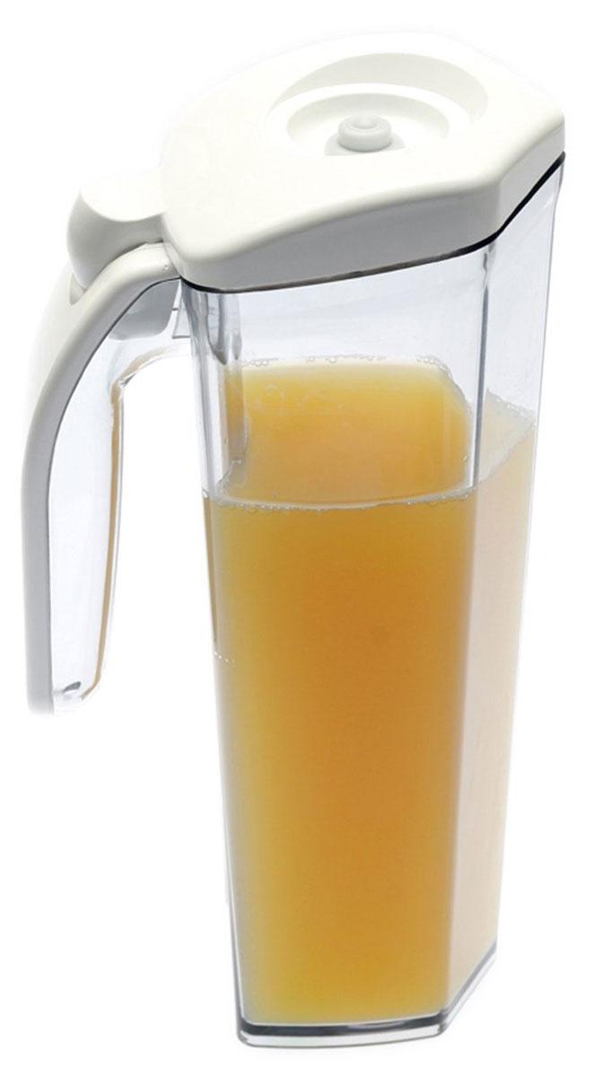 Status JUG 1, White кувшин вакуумныйMT-1951Вакуумный кувшин Status JUG 1 подходит для хранения соков, молока и других напитков, что продлевает их срок годности, сохраняет аромат и вкус.Форма кувшина разработана для удобного хранения на полке в дверце холодильника. Изготовлен из прочного хрустально-прозрачного аморфного пластика Eastman Tritan.Пригоден для замораживания (до -21 °C), мытья в посудомоечной машине, разогрева в СВЧ (без крышки).Для создания вакуума необходим вакуумный насос.