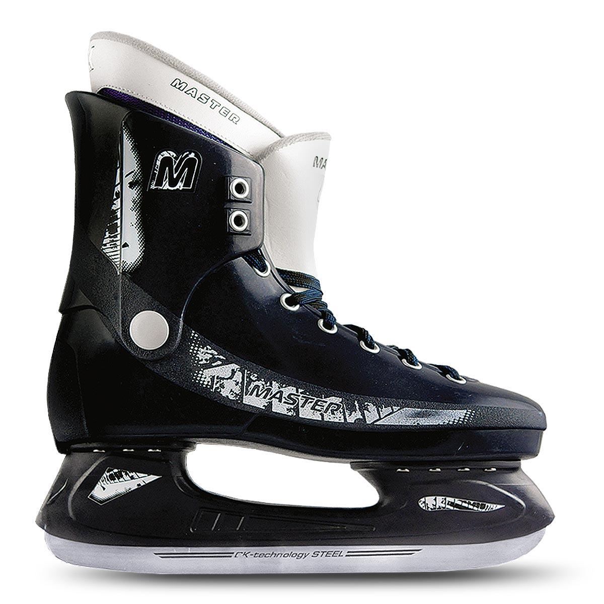 Коньки хоккейные мужские CK Master Deluxe, цвет: синий. Размер 39MASTER deluxe_синий_39Стильные коньки от CK Master Deluxe с ударопрочной защитной конструкцией отлично подойдут для начинающих обучаться катанию. Ботинки изготовлены из морозостойкого полимера, который защитит ноги от ударов. Верх изделия оформлен классической шнуровкой, надежно фиксирующей голеностоп. Сапожок, выполненный из комбинации капровелюра и искусственной кожи, оформлен принтом и тиснением в виде логотипа бренда. Внутренняя поверхность, дополненная утеплителем, и стелька исполнены из текстиля. Фигурное лезвие изготовлено из нержавеющей легированной стали со специальным покрытием, придающим дополнительную прочность.Усиленная двух-стаканная рама декорирована с одной из боковых сторон оригинальным принтом. Стильные коньки придутся вам по душе.Уважаемые клиенты, обращаем ваше внимание на тот факт, что модель маломерит: при заказе выбирайте размер на 1-2 превышающий ваш собственный.