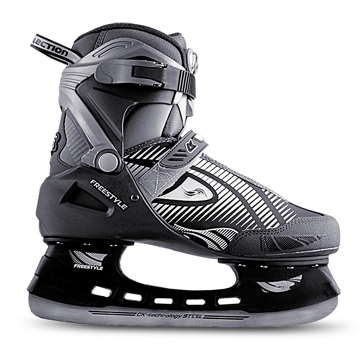 Коньки хоккейные мужские СК Freestyle, цвет: серый, черный. Размер 44FREESTYLE_серый, черный_44Оригинальные мужские коньки от CK Freestyle с ударопрочной защитной конструкцией прекрасно подойдут для начинающих игроков в хоккей. Сапожок, выполненный из комбинации ПВХ, морозостойкой искусственной кожи, нейлона и капровелюра, обеспечит тепло и комфорт во время катания. Внутренний слой изготовлен из фланелета, а стелька - из текстиля. Пластиковая бакля и шнуровка с фиксатором, а также хлястик на липучке надежно фиксируют голеностоп. Плотный мысок и усиленный задник оберегают ногу от ушибов. Фигурное лезвие изготовлено из углеродистой нержавеющей стали со специальным покрытием, придающим дополнительную прочность.Изделие по верху декорировано оригинальным принтом и тиснением в виде логотипа бренда. Задняя часть коньков дополнена широким ярлычком для более удобного надевания обуви. Стильные коньки придутся вам по душе.