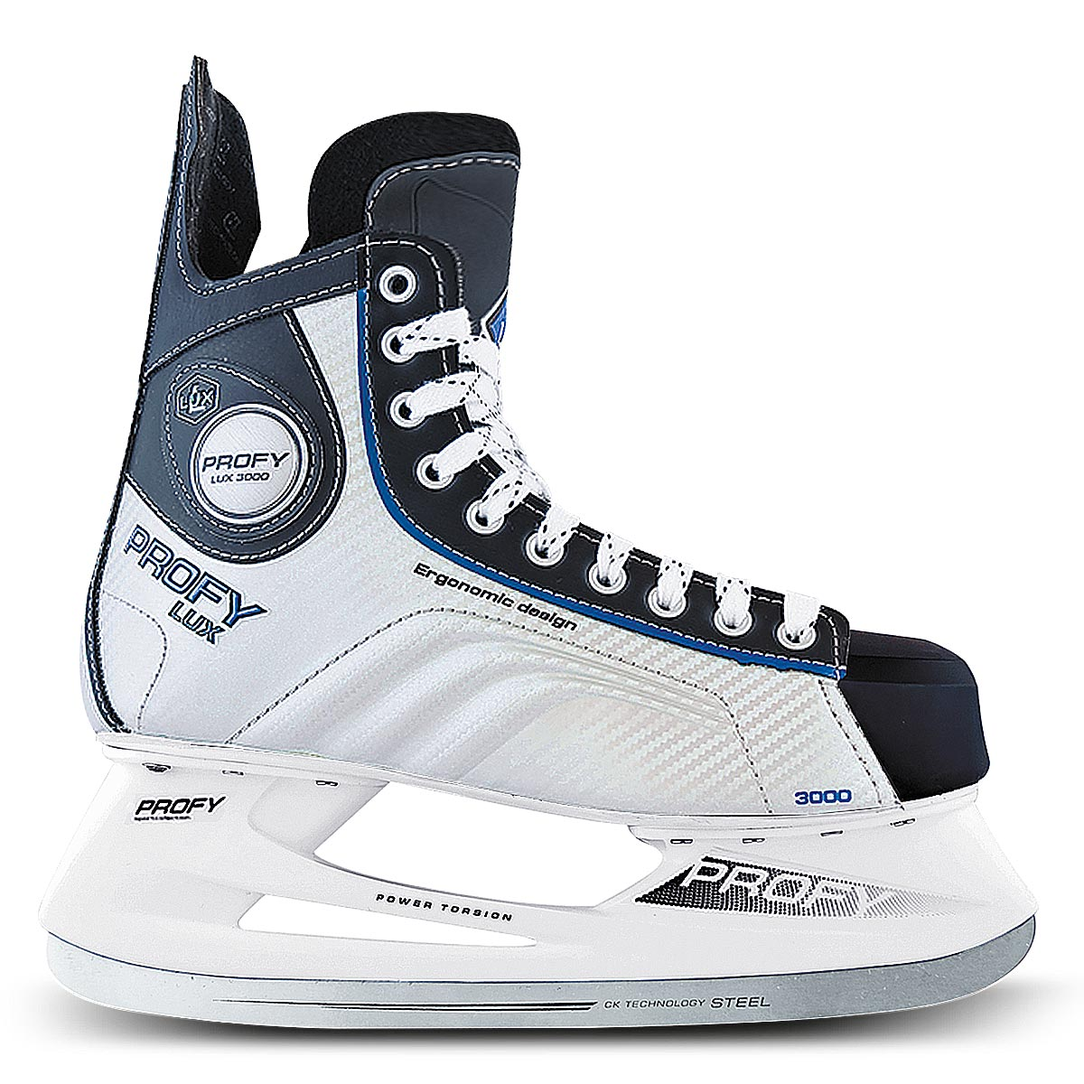 Коньки хоккейные мужские СК Profy Lux 3000, цвет: черный, серебряный, синий. Размер 46PROFY LUX 3000 Blue_46Коньки хоккейные мужские СК Profy Lux 3000 прекрасно подойдут для профессиональных игроков в хоккей. Ботинок выполнен из морозоустойчивой искусственной кожи и специального резистентного ПВХ, а язычок - из двухслойного войлока и искусственной кожи. Слоевая композитная технология позволила изготовить ботинок, полностью обволакивающий ногу. Это обеспечивает прочную и удобную фиксацию ноги, повышает защиту от ударов. Ботинок изготовлен с учетом антропометрии стоп россиян, что обеспечивает комфорт и устойчивость ноги, правильное распределение нагрузки, сильно снижает травмоопасность. Конструкция носка ботинка, изготовленного из ударопрочного энергопоглощающего термопластичного полиуретана Hytrel® (DuPont), обеспечивает увеличенную надежность защиты передней части ступни от ударов. Усиленные боковины ботинка из формованного PVC укрепляют боковую часть ботинка и дополнительно защищают ступню от ударов за счет поглощения энергии. Тип застежки ботинок – классическая шнуровка. Стелька из упругого пенного полимерного материала EVA гарантирует комфортное положение ноги в ботинке, обеспечивает быструю адаптацию ботинка к индивидуальным формам ноги, не теряет упругости при изменении температуры и не разрушается от воздействия пота и влаги. Легкая прочная низкопрофильная полимерная подошва инжекционного формования практически без потерь передает энергию от толчка ноги к лезвию – быстрее набор скорости, резче повороты и остановки, острее чувство льда. Лезвие из нержавеющей стали 420J обеспечит превосходное скольжение.