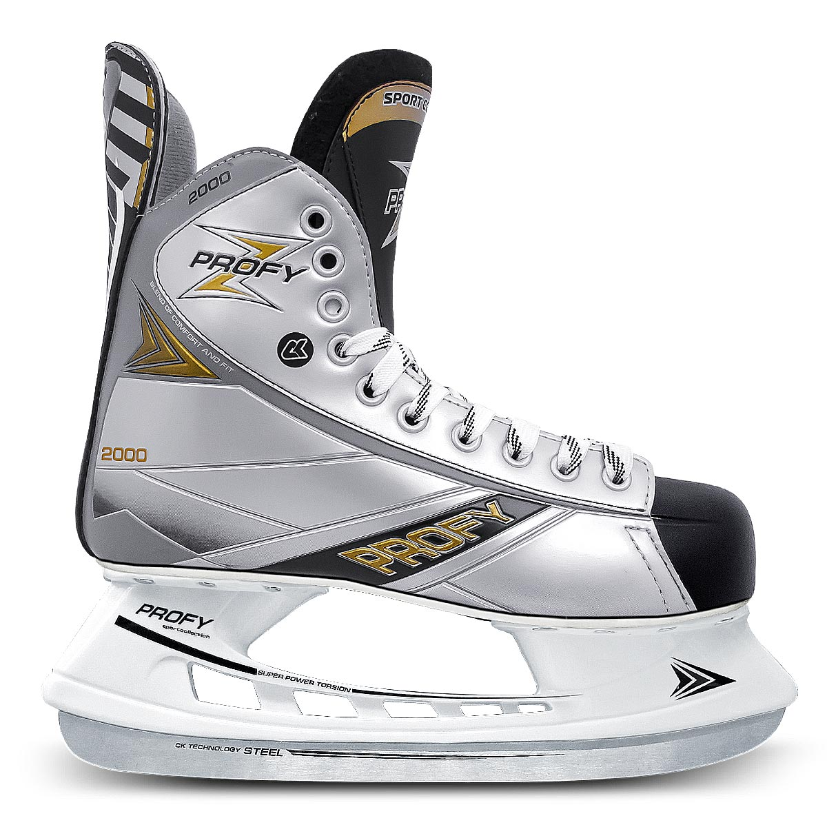 Коньки хоккейные мужские СК Profy Z 2000, цвет: черный, серый. Размер 46