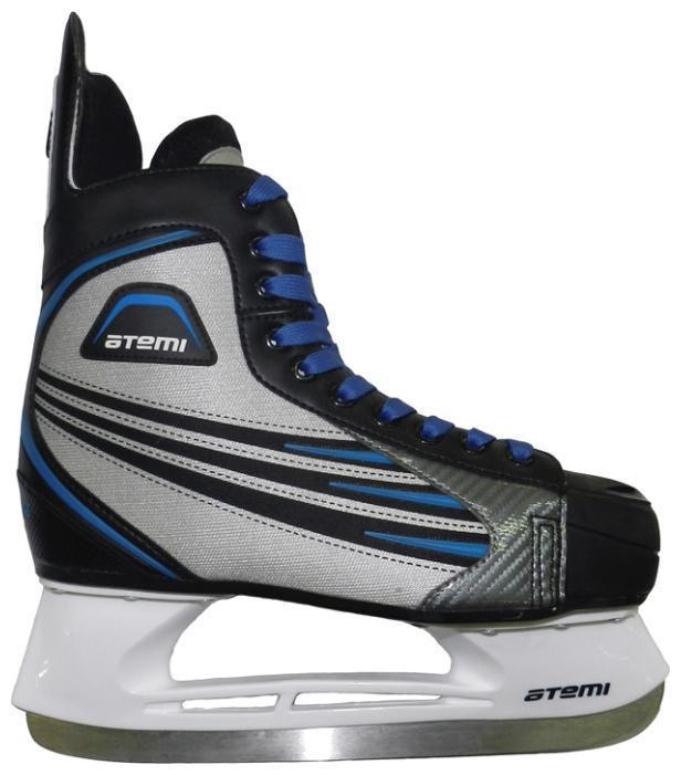 Коньки хоккейные мужские Atemi BLADE 2015, цвет: серый, синий, черный. Размер 36Atemi Force 3.0 2012 Black-GrayБотинок выполнен из нейлона. Мысок и стакан изготовлены из морозоустойчивого пластика. Лезвие сделано из нержавеющей стали.